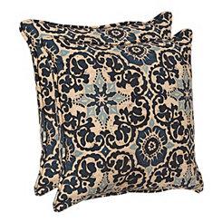 Blue Medallion Outdoor Pillows, Set of 2