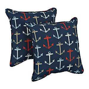 Blue Anchors Outdoor Pillows, Set of 2