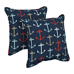 Blue Anchors Outdoor Pillows, Set of 2