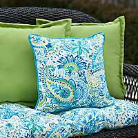 Blue Paisley Outdoor Pillows