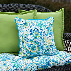 Blue Paisley Outdoor Pillows, Set of 2