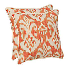 Coral Ikat Outdoor Pillows, Set of 2