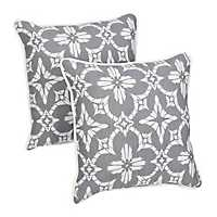 Aspidoras Gray Medallion Outdoor Pillows, Set of 2