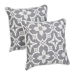 Aspidoras Gray Medallion Outdoor Pillows, Set of 2