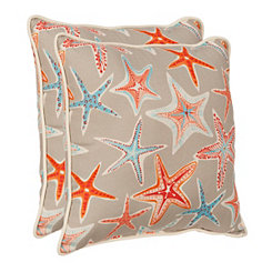 Gray Starfish Outdoor Pillows, Set of 2