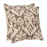 Gray Ikat Outdoor Pillows, Set of 2