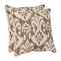 Gray Ikat Outdoor Pillows, Set of 2