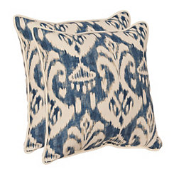 Blue Ikat Outdoor Pillows, Set of 2