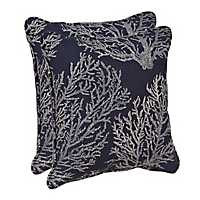 Navy Coral Outdoor Pillows, Set of 2