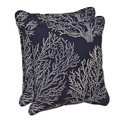 Navy Coral Outdoor Pillows, Set of 2