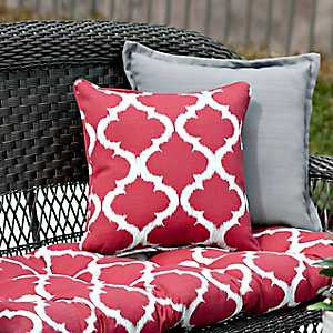 Red Quatrefoil Outdoor Pillows, Set of 2