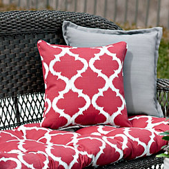 Red Quatrefoil Outdoor Pillows, Set of 2