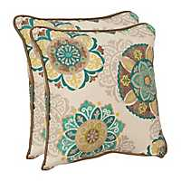 Blue Floral Medallion Outdoor Pillows, Set of 2