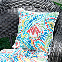 Bright Paisley Outdoor Pillows, Set of 2