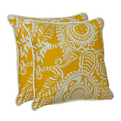 Yellow Paisley Outdoor Pillows, Set of 2