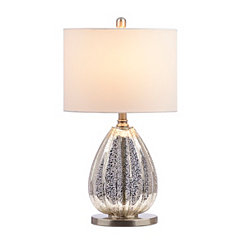 Silver Oval Mercury Glass Table Lamp