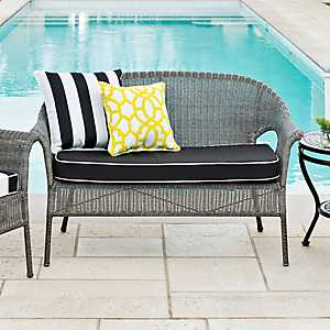 Gray Key West Wicker Settee