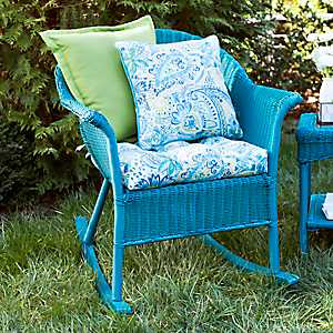 Turquoise Key West Wicker Rocker