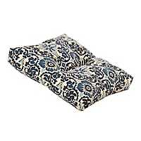 Blue Floral Outdoor Ottoman Cushion