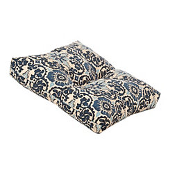 Blue Floral Outdoor Ottoman Cushion