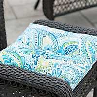 Blue Paisley Outdoor Ottoman Cushion