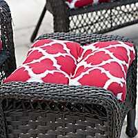Red Quatrefoil Outdoor Ottoman Cushion