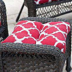 Red Quatrefoil Outdoor Ottoman Cushion