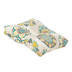Blue Floral Medallion Outdoor Ottoman Cushion