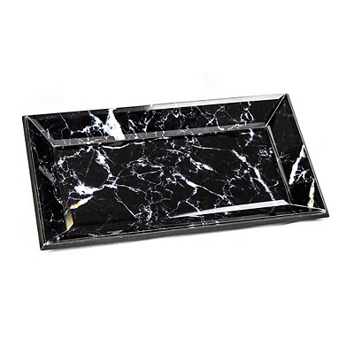 Black Marbleized Decorative Tray
