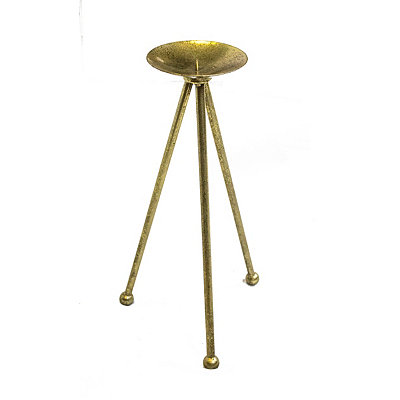 Gold Tripod Candlestick, 14 in.