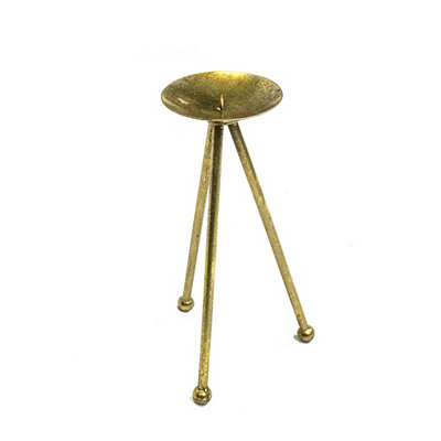 Gold Tripod Candlestick, 12 in.
