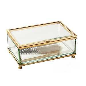 Glass Feather Decorative Box
