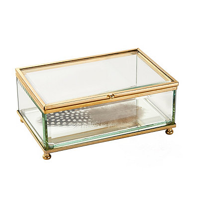 Glass Feather Decorative Box