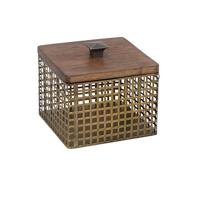 Square Gold Cage Decorative Box