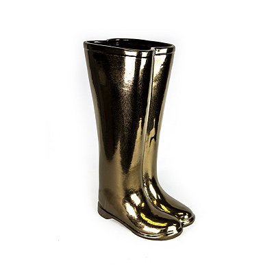 Bronze Boots Ceramic Umbrella Stand