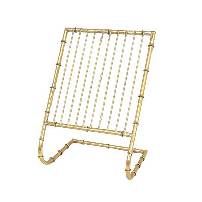 Gold Metal Bamboo Magazine Rack