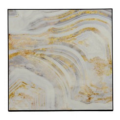 Gray and Gold Geode I Framed Art Print