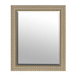 Light Engraved Woodgrain Framed Mirror