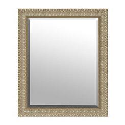 Light Engraved Woodgrain Framed Mirror