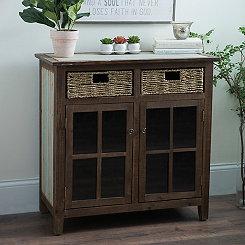 Distressed Beadboard Barnwood Cabinet