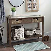 Distressed Beadboard Barnwood Console Table