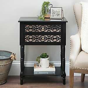 Black Geometric 2-Drawer Accent Table