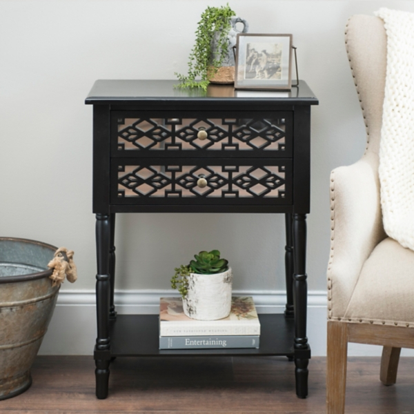 black geometric 2drawer accent table