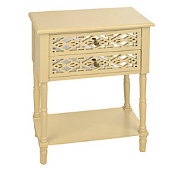 Cream Geometric 2-Drawer Accent Table