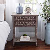 Natural Geometric 2-Drawer Accent Table