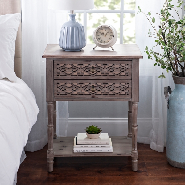 natural geometric 2drawer accent table