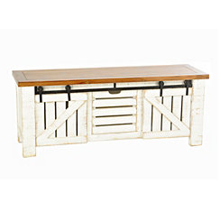 Farmhouse White Sliding Storage Bench