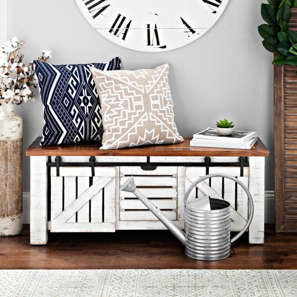 Elegant Farmhouse White Sliding Storage Bench