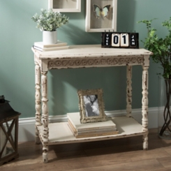 Vintage White Medallion Console Table