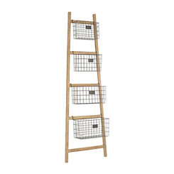 Tapered Wooden Ladder Basket Shelf